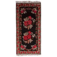 Midcentury Bessarabian Kilim Rug Vintage Black Red Floral Pattern Flat-Weave