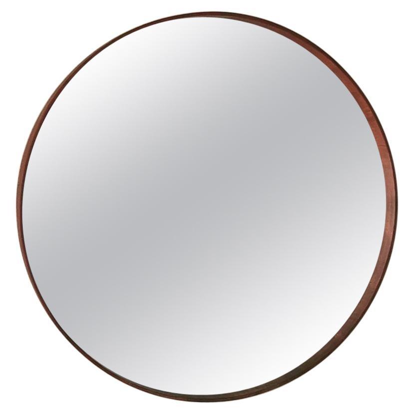 Mid Century Round Wall Mirror Wood Italian Design 1960s