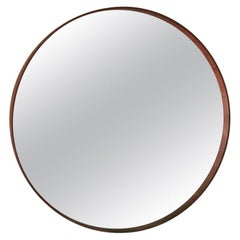 Midcentury Big Round Wall Mirror in Wood, Italian Design, 1960s