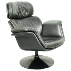 Midcentury Big Tulip Chair by Pierre Paulin for Artifort Black Leather, 1960s