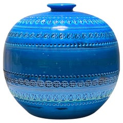 Mid-Century Bitossi Rimini Blue Ceramic Ball Vase, Aldo Londi, Italy, 1960s
