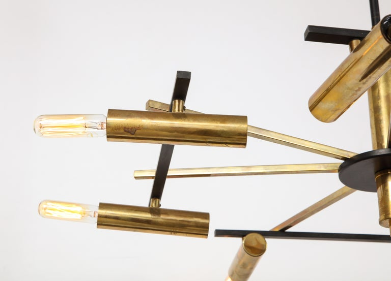 Mid-Century Black and Brass Ceiling Light by Stilnovo, Italy, c. 1950s For Sale 5