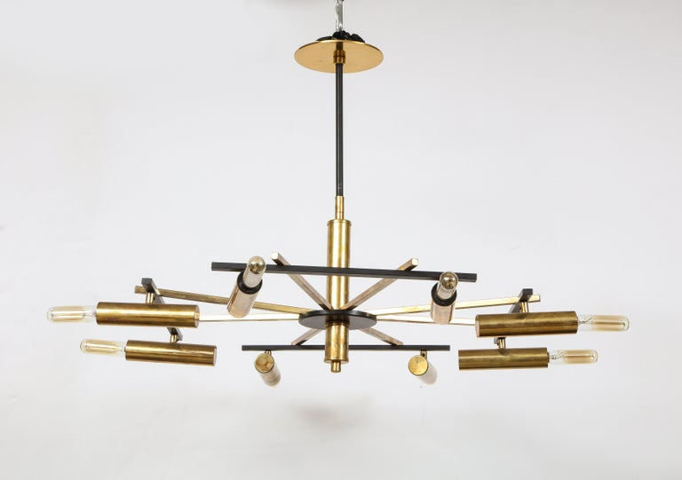 Italian Mid-Century Black and Brass Ceiling Light by Stilnovo, Italy, c. 1950s For Sale