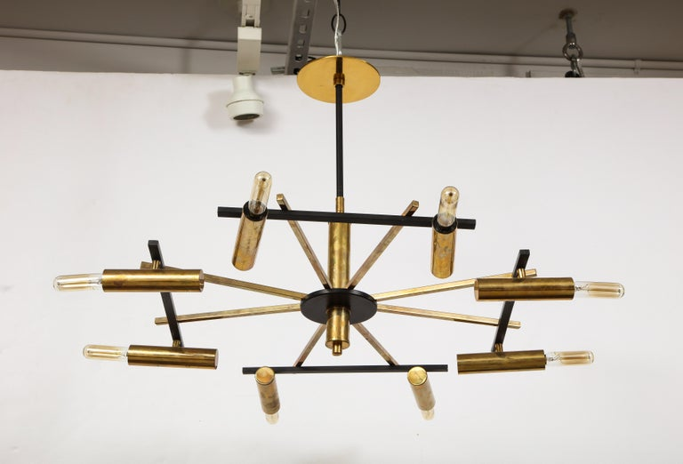 Blackened Mid-Century Black and Brass Ceiling Light by Stilnovo, Italy, c. 1950s For Sale