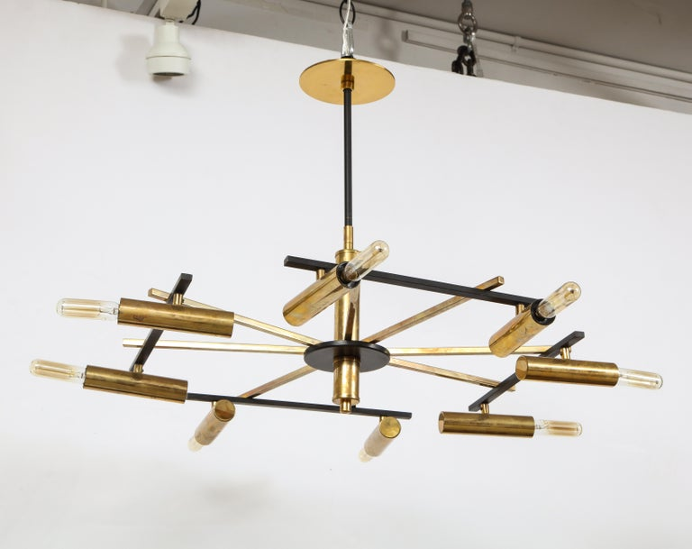 Mid-Century Black and Brass Ceiling Light by Stilnovo, Italy, c. 1950s In Good Condition For Sale In New York City, NY