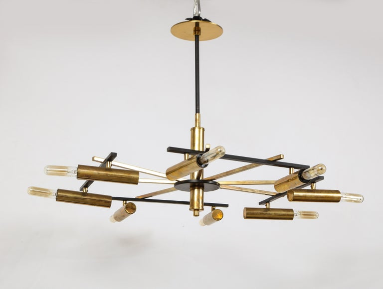 Mid-20th Century Mid-Century Black and Brass Ceiling Light by Stilnovo, Italy, c. 1950s For Sale
