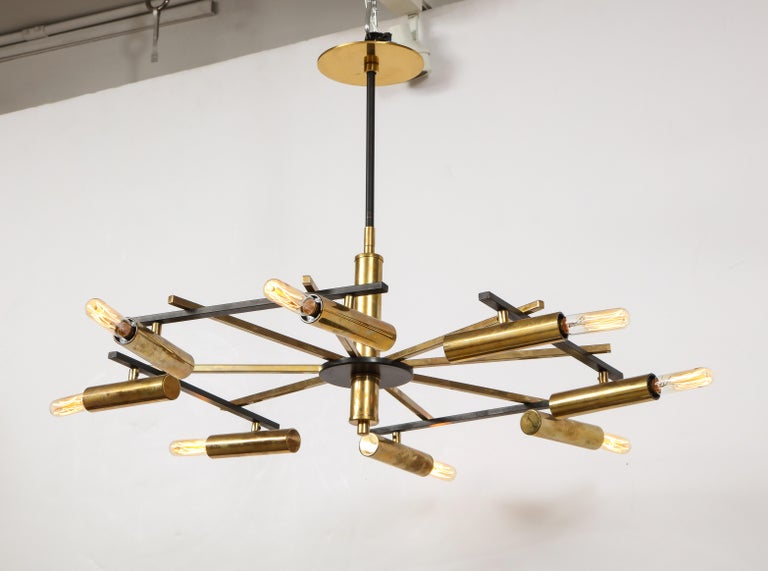 Mid-Century Black and Brass Ceiling Light by Stilnovo, Italy, c. 1950s For Sale 1