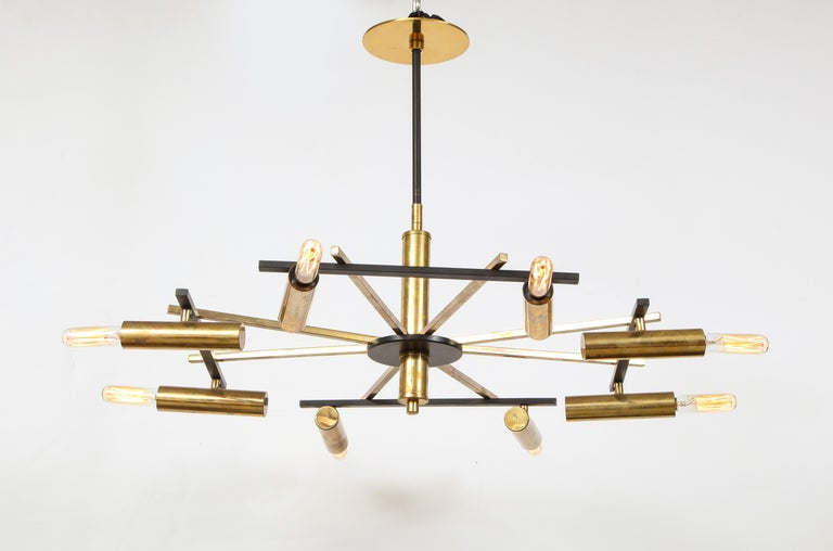 Mid-Century Black and Brass Ceiling Light by Stilnovo, Italy, c. 1950s For Sale 2
