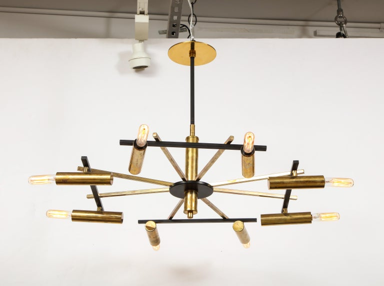 Mid-Century Black and Brass Ceiling Light by Stilnovo, Italy, c. 1950s For Sale 3