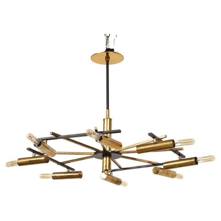 Mid-Century Black and Brass Ceiling Light by Stilnovo, Italy, c. 1950s For Sale