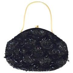 Mid-Century Black Beaded Evening Handbag/Foldaway Clutch