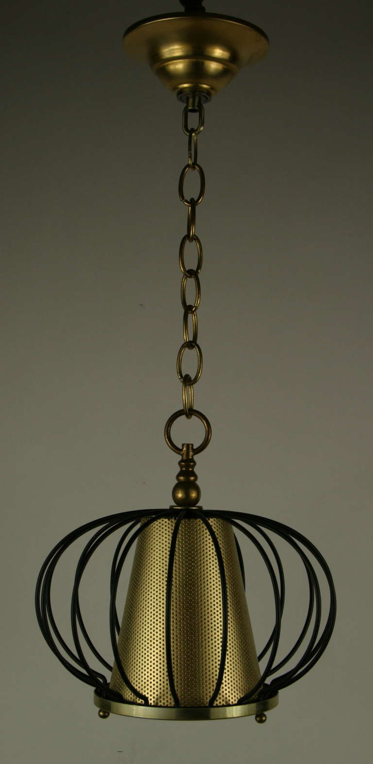 American Mid Century Black Brass Modern Ceiling Fixtures{2 available) For Sale