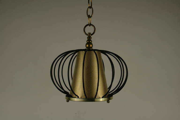Mid-20th Century Mid Century Black Brass Modern Ceiling Fixtures{2 available) For Sale