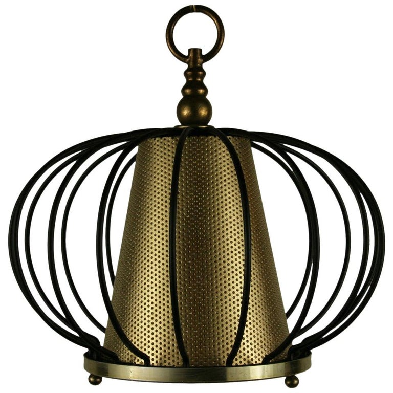 Mid Century Black Brass Modern Ceiling Fixtures{2 available) For Sale