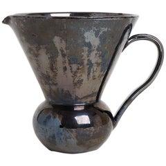 Midcentury Black Ceramic Jug