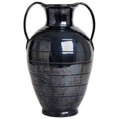 Midcentury Black Ceramic Urn
