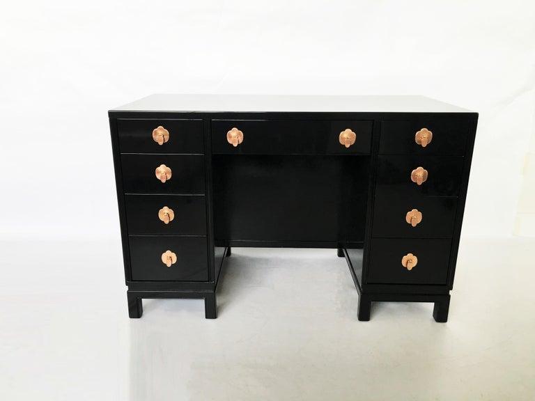 American Midcentury Black Lacquered Desk by Landstorm Furniture For Sale