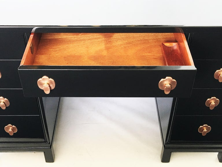 Mid-20th Century Midcentury Black Lacquered Desk by Landstorm Furniture For Sale