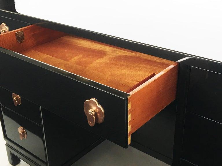 Wood Midcentury Black Lacquered Desk by Landstorm Furniture For Sale