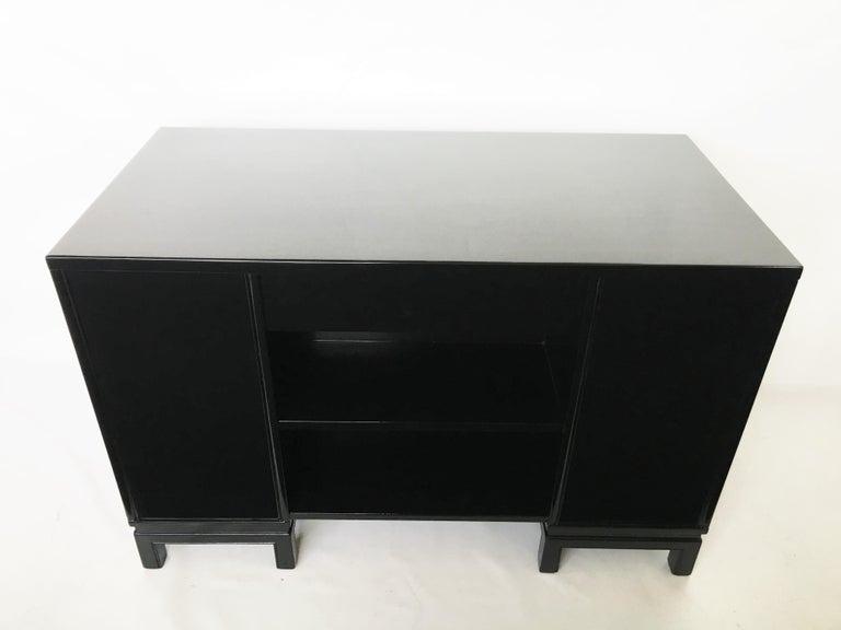 Midcentury Black Lacquered Desk by Landstorm Furniture For Sale 1
