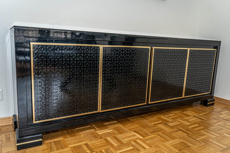 Wood Midcentury Black Lacquered Italian Credenza with Gold Leaf Glass Top For Sale