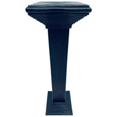 Midcentury Black Lacquered Pencil Reed Rattan Pedestal Table '2 of 4 Available'