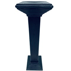Midcentury Black Lacquered Pencil Reed Rattan Pedestal Table