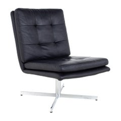 Mid Century Black Leather and Chrome Slipper Lounge Chair