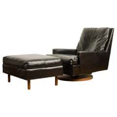 Mid-Century Black Leather Reclining Lounge Chair with Ottoman by M.Baughman