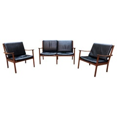 Midcentury Black Leather Sofa Set