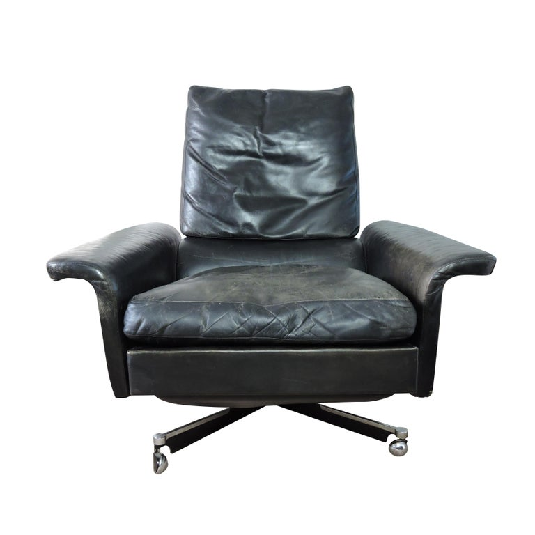 Astounding Midcentury Black Leather Swivel Chair 1960S Caraccident5 Cool Chair Designs And Ideas Caraccident5Info