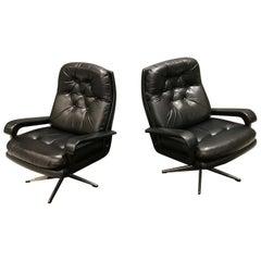Midcentury Black Leather Swivel Chairs