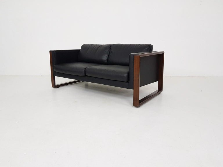 Midcentury Black Leather Two-Seat Sofa by Walter Knoll, Germany, 1960s