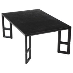 Midcentury Black Linen-Wrapped Coffee Table