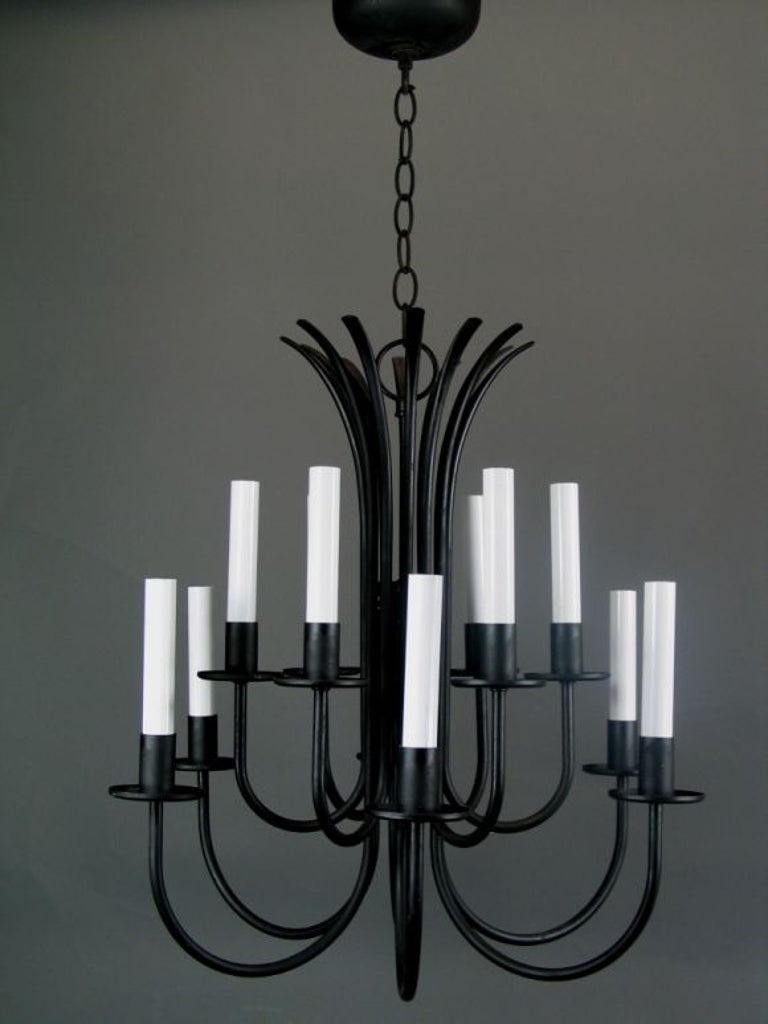 Two level black iron chandelier, 12 lights.