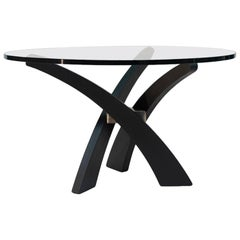 Midcentury Black Oakwood Three-Leg Round Glass Top Dinning Table T88