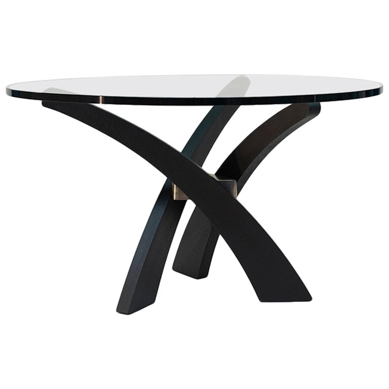 Mid Century Modern black Oakwood three-leg, round glass top dinning table T88 For Sale