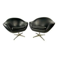 Mid-Century Black Overman Swedish Swivel Lounge Chairs, a Pair
