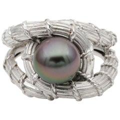 Midcentury Black Pearl Platinum Snake Ring