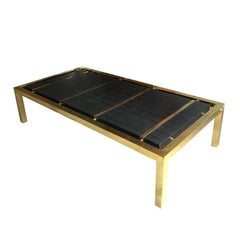 Black and Brass Mid Century Rectangular Shagreen or Leather Coffee Table