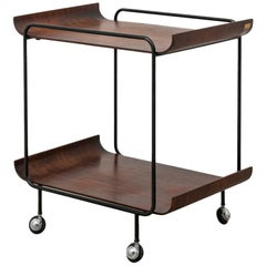 Midcentury Black Varnished Iron and Rosewood Serving Cart by Creazioni Stilcasa