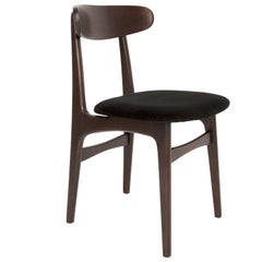 Mid Century Black Velvet Chair, Rajmund Halas, Poland, 1960s