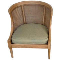 Midcentury Bleached and Caned Barrel Back Chair