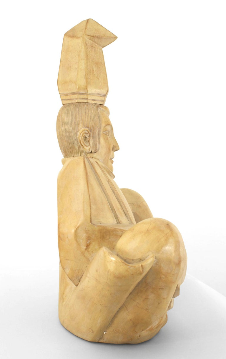 20th Century Mid-Century Bleached Wood Sculpture of a Seated Shinto Priest For Sale