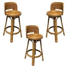 Mid Century Blond Bar Stool Set of Three with Woven Wicker Seats