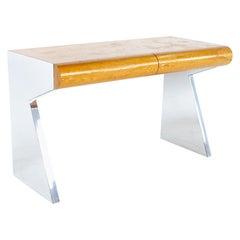 Mid Century Blonde Chrome and Oak Desk