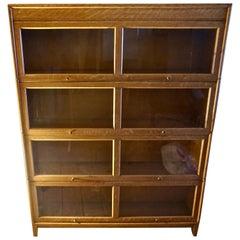 Midcentury Blonde Oak Barrister's Bookcase Display Cabinet