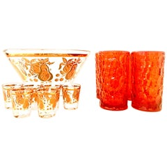 Mid-Century Blown Glass & 22-Karat Gold Drinks Set by, Briard & Blenko Set of 11
