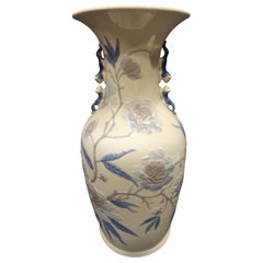 Midcentury Blue and White Lladro Spanish Porcelain Vase in Oriental Style