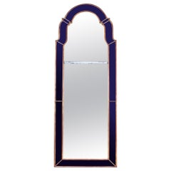 Midcentury Blue Border Glass Pier Mirror